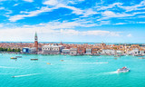 Venice panoramic aerial view, Piazza San Marco with Campanile and Doge Palace. Italy