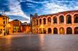 Quadro Piazza Bra and Arena, Verona amphitheatre in Italy
