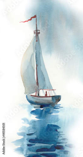 Watercolor boat © berdsigns