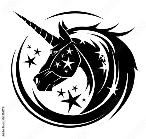 Unicorn head circle tattoo illustration