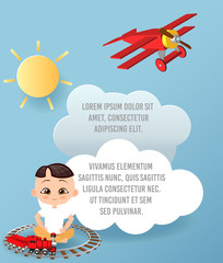 Vector Paper art of cloud and plane flying in the sky. Template advertising brochure with space for text. Origami concept Banner. Banner with funny cartoon kids