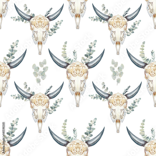 Watercolor bull skull seamless pattern. Boho chic style texture with buffalo head and eucalyptus branches. Hand drawn wallpaper design in tribal style with natural objects on white background. - 141598381