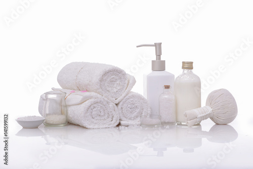 Plexiglas Spa spa theme objects on white background