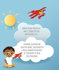 Vector Paper art of cloud and plane flying in the sky. Template advertising brochure with space for text. Origami concept Banner. Banner with African American boy with glasses.