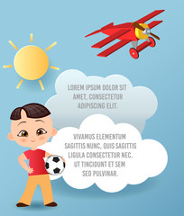 Japanese boy. Kid playing football. Vector Paper art of cloud and plane flying in the sky. Template advertising brochure with space for text. Origami concept Banner.