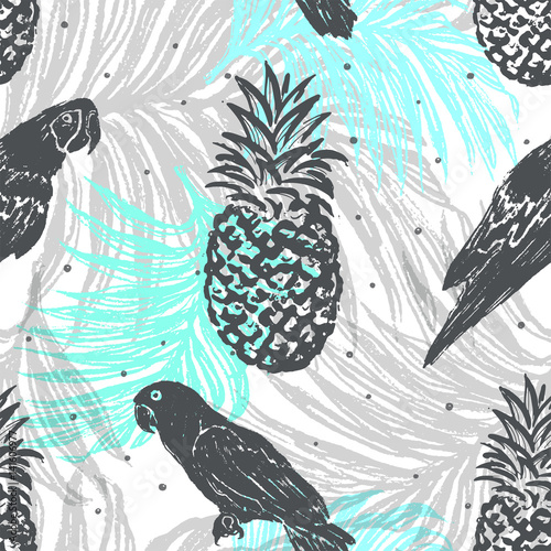 Naklejka na szybę Ink hand drawn Jungle seamless pattern with Parrots and Pineapples on Palm leaves background