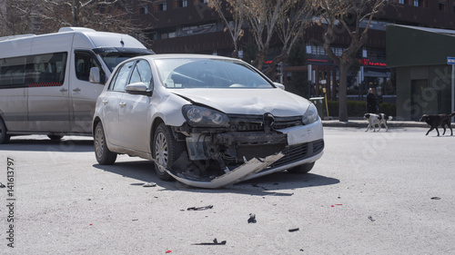 Car accident happens and dameged in front, in city center of Eskisehir, Turkey  - 141613797