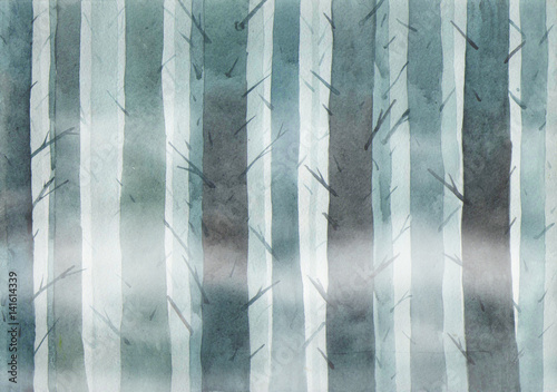 Foggy forest at night. Watercolor illustration. Grim landscape. Wood. Background.