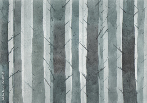 Foggy forest at night. Watercolor illustration. Grim landscape. - 141614363