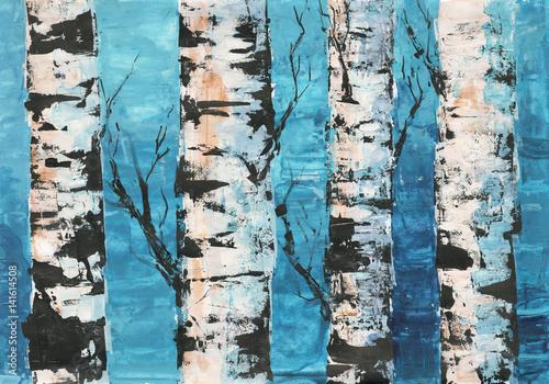 brzozy-przeciw-blekitne-niebo-malowane-akrylem-krajobraz-recznie-rysowane-ilustracji-wiosna-las-olej-malowany