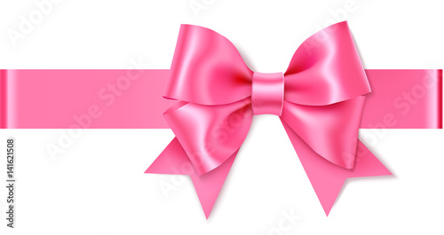 Decorative pink bow with horizontal ribbon. Vector bow for page decor isolated on white