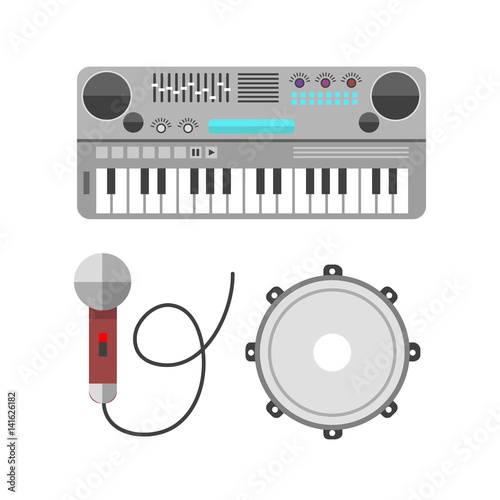 Vintage synthesizer musical equipment flat design vector illustration and classical white black musical keyboard sound instrument harmony art. © partyvector