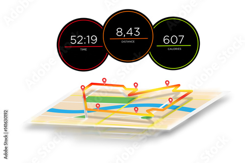 Running interface with data informations isolated on a background - sport concept