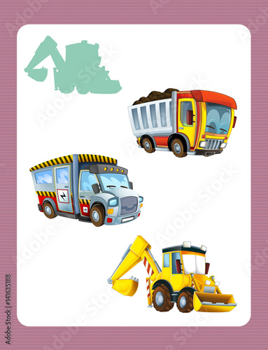 cartoon guessing game for little kids with colorful industry cars - 141635188