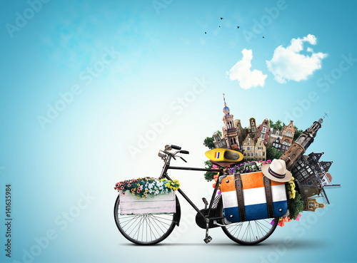 Poster Netherlands, a city bicycle with Dutch attractions