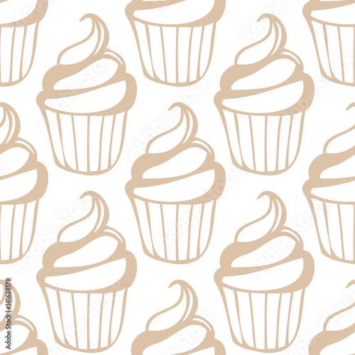 White cream cupcake seamless light beige pattern - 141638178