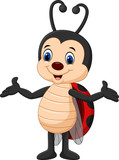 Cartoon Ladybug Posing  Wall Sticker