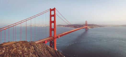 Golden Gate Bridge panorama in twilight, San Francisco, California, USA
