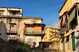 Old residential buildings in Naples. Italy
