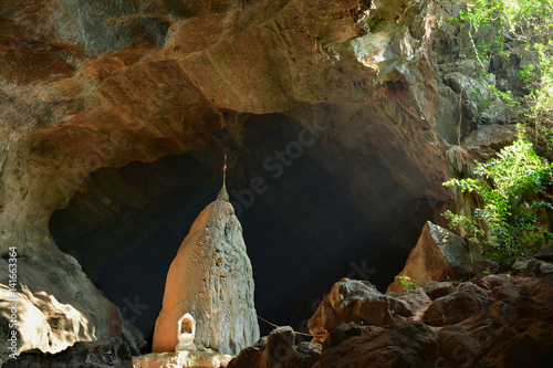 Poster View inside sacred Sadan Sin Min Cave in Hpa-An, Myanmar.
