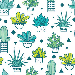 Vector Blue Green Seamless Repeat Pattern With Growing Succulents and Cacti In Pots. Trendy tropical design for textile, fabric, packaging, backdrops, wallpaper.