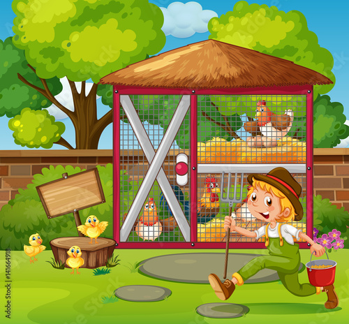 Farmer feeding chickens in the coop