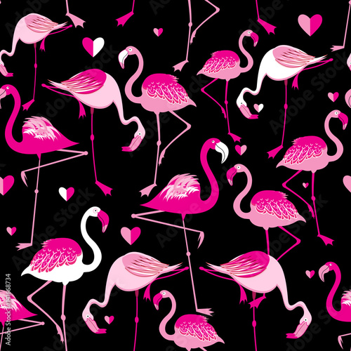 Seamless pattern from pink flamingos