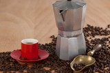 Fototapety Coffee beans, coffee, coffeemaker and scoop