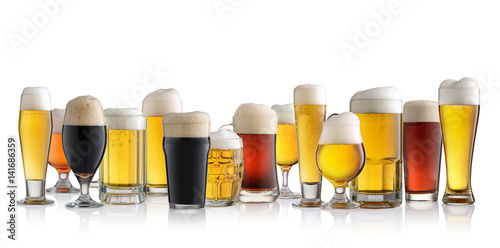 Poster Set of different beer isolated on white background