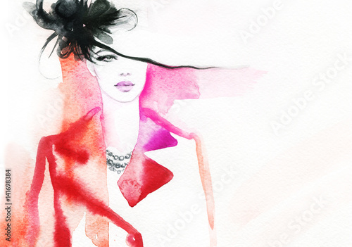 Woman in coat. Street fashion style. Hand drawing illustration. Watercolor painting - 141698384
