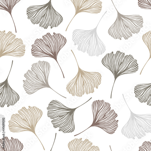 Floral seamless pattern with ginkgo leaves. Vector illustration. - 141699592