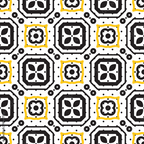 Black and white mediterranean seamless ceramic tile pattern. Geometric vintage shapes vector texture for ceramic design, textile and wallpaper.