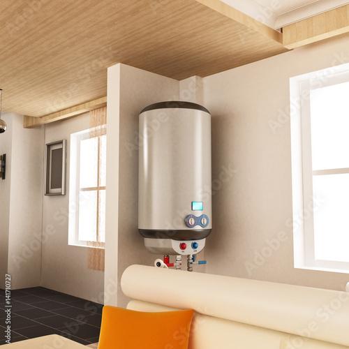 Podgrzewacz wody wisi na ścianie. 3D ilustracji