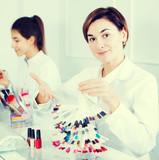 Manicurist demonstrating her workplace