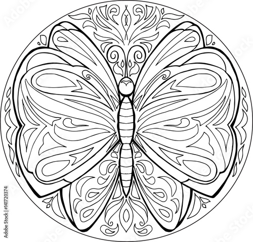 Decorative coloring mandala with butterfly