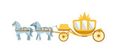 Golden Carriage Drawn By Four Gray Horses   Wall Sticker