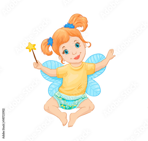 Little fairy. Vector illustration. Drawing suitable for print on pacage of children's goods, clothes, furniture.