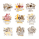 Fototapety Coffee Original Colorful Graphic Design Template Logo Series,Hand Drawn Vector Stencils