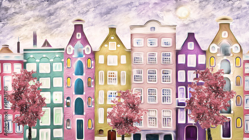 oil painting on canvas, street of Amsterdam. modern Artwork. house. red Tree. Netherlands - 141731703