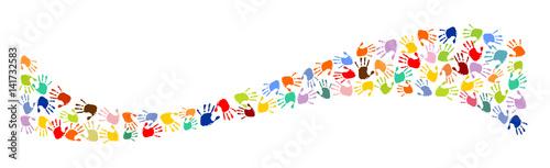 Welle aus bunten Handabdrücken