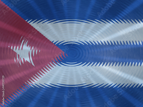 Cuba flag background with ripples and rays illustration