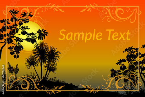 Poster Oranje eclat Exotic Landscape, Tropical Plants, Trees and Flowers Silhouettes, Sun and Gold Frame with Floral Pattern. Eps10, Contains Transparencies. Vector