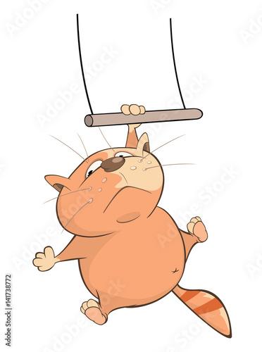 Plexiglas Illustration of a Cute Cat Acrobat. Cartoon Character