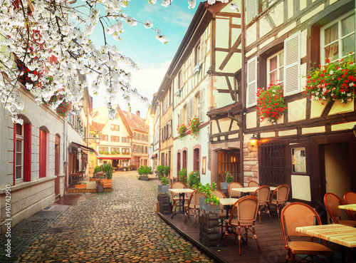 Plagát street of Petit France medieval district of Strasbourg at spring, Alsace France
