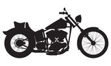 Fototapety Motorcycle icon or sign. Vector black silhouette of bike or motorcycle.