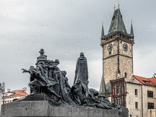 Poster Jan Hus monument and Old Town City Hall