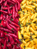 Pile of red and yellow chillies
