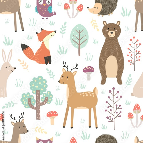 Cotton fabric Forest seamless pattern with cute animals