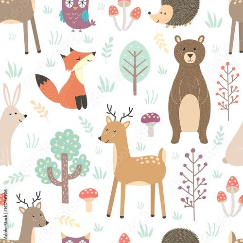 Materiał do szycia Forest seamless pattern with cute animals