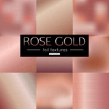Fototapety Set of rose gold vector gradients collection. Pink foil texture metallic for banner, background, frame design. Vector illustration.